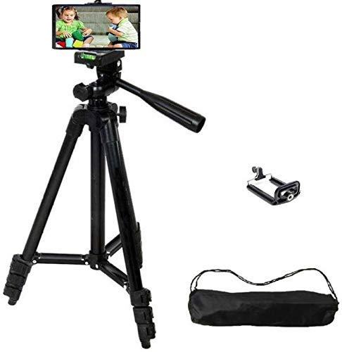 Syvo 3120 Foldable Camera Tripod with Mobile Clip Holder Bracket, Fully Flexible Mount Cum Tripod, Standwith 3D Head & Quick Release Plate (Black)